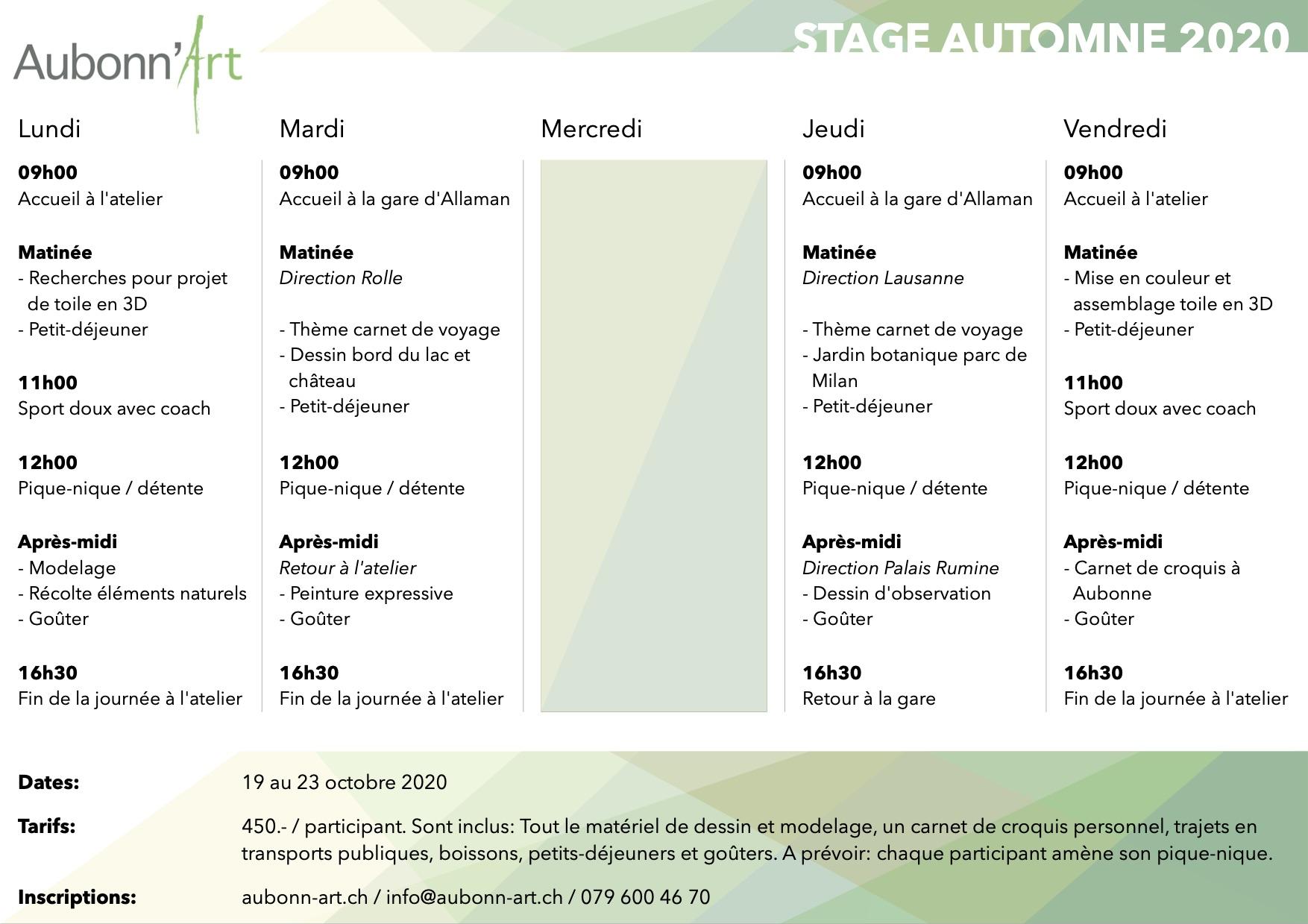 Aubonn'art - Stage d'automne 2020